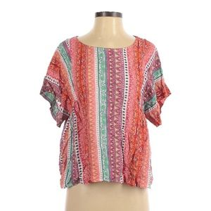 Anthro Maeve Short Sleeve Pink Striped Blouse XS